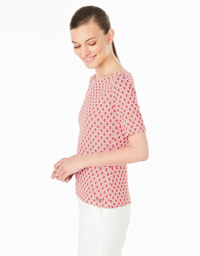 T-shirt en maille ajourée rouge