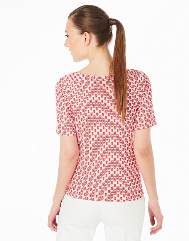 Camiseta punto calado roja