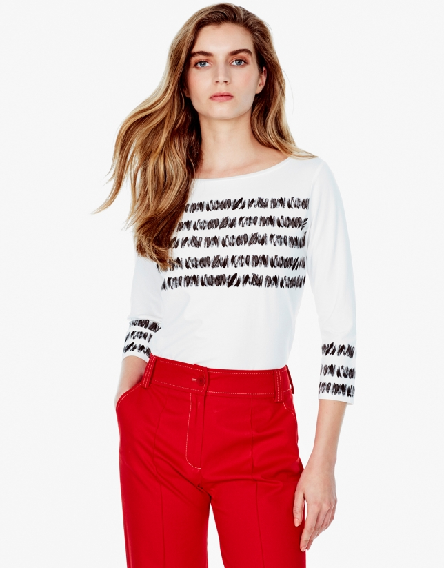 T-shirt blanc à rayures