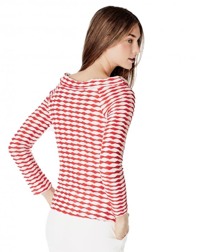 Camiseta cuello barco coral
