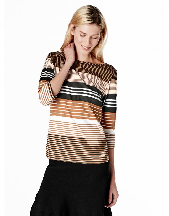T-shirt marron à rayures