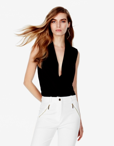 Top with draped collar