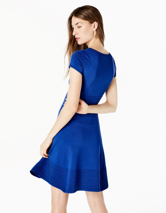 Blue knit dress with flounce