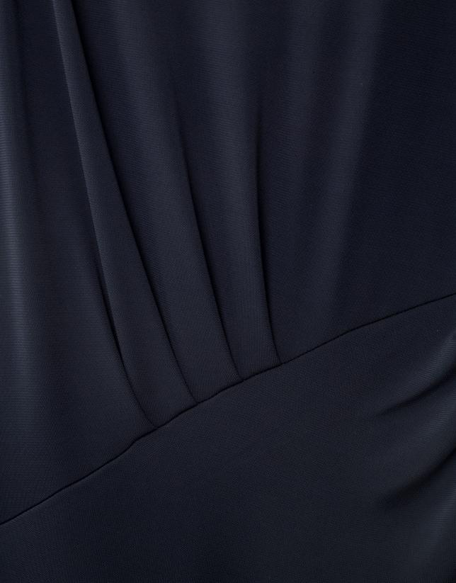 Vestido punto pliegues azul
