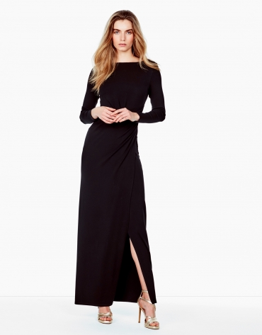 Long black knit dress
