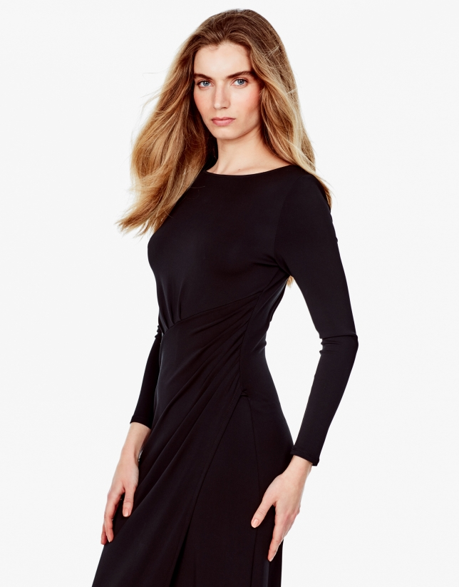 Long black knit dress