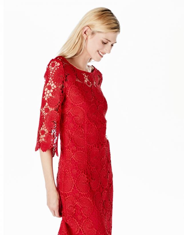 Vestido Encaje Rojo Colección Roberto Verino