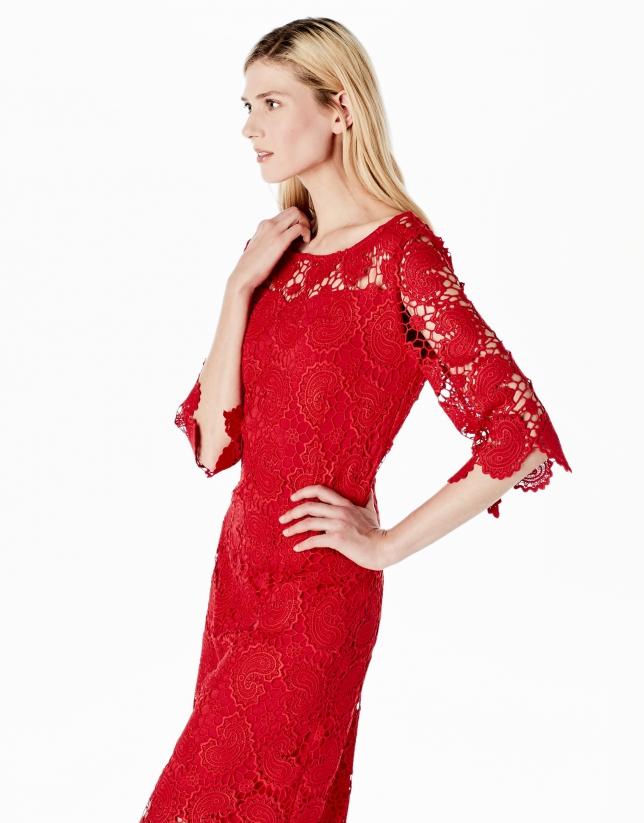 Vestido encaje rojo