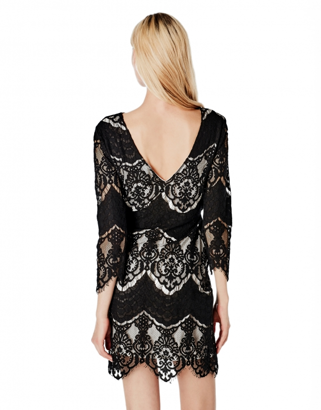 Black lace dress with contrasting lining