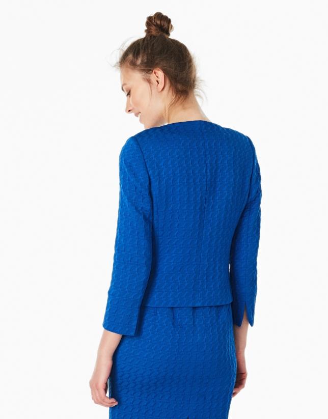 Chaqueta jacquard azul