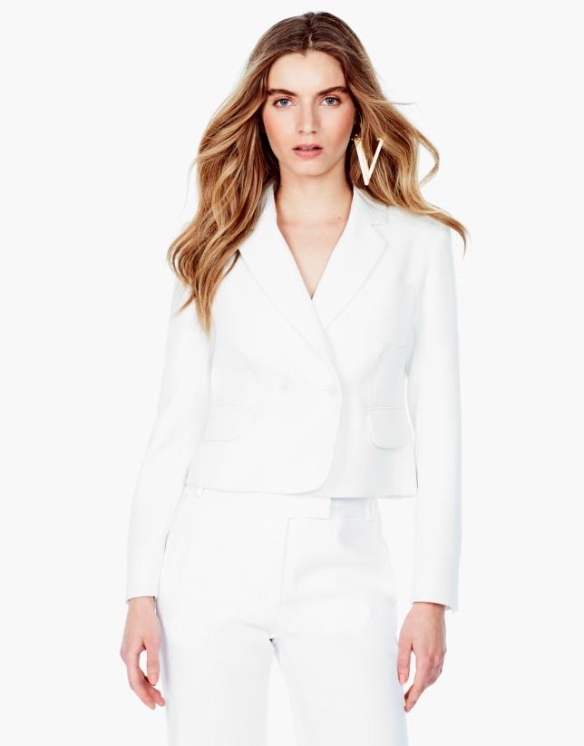 Veste courte blanc cassé