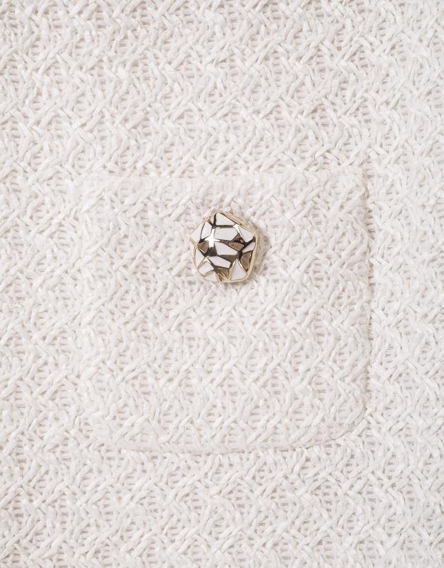 Chaqueta corta bolsillos blanco roto