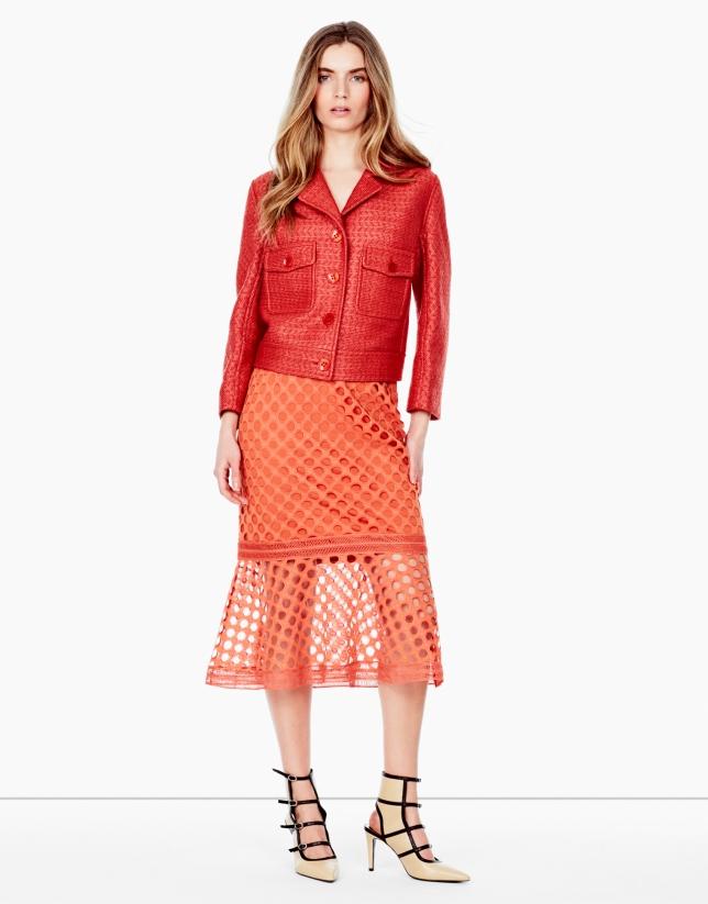 Orange jacket with lapels