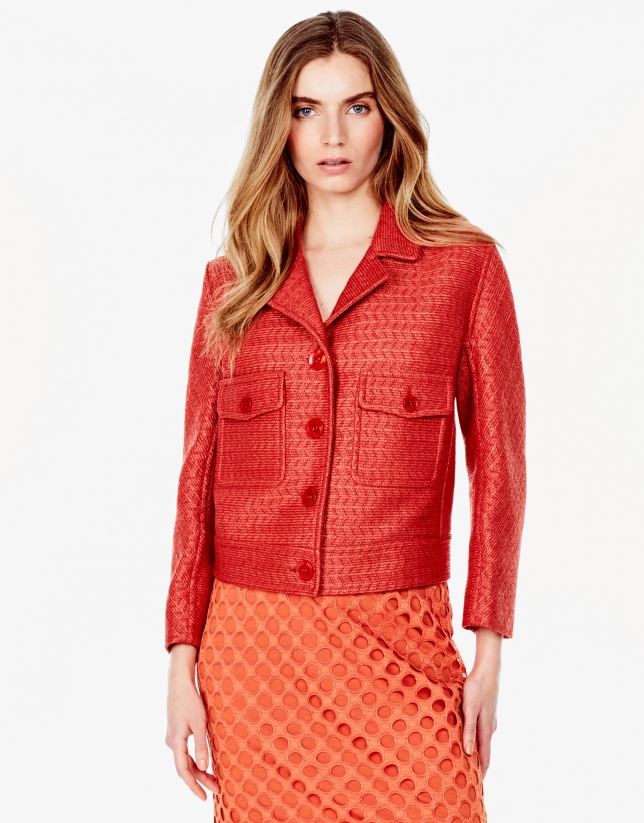 Orange jacket with lapels