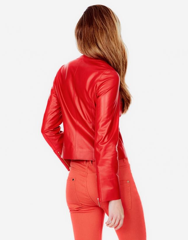 Chaqueta piel cordero roja