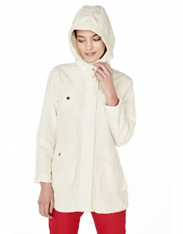 Beige hooded trench coat