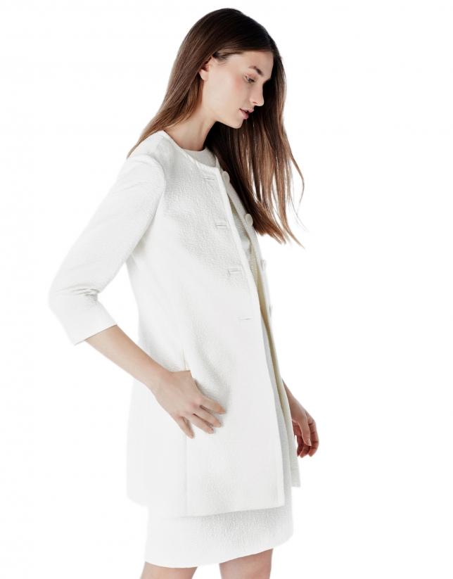 Ivory jacquard short coat