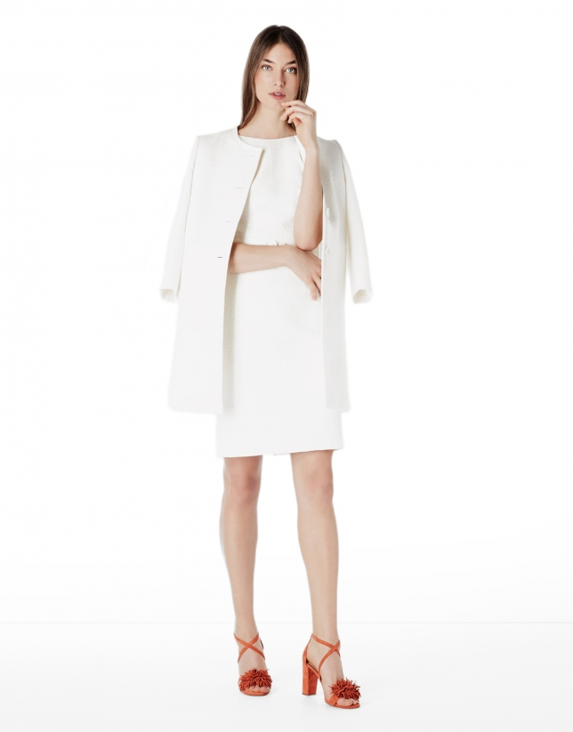 Ivory jacquard short coat