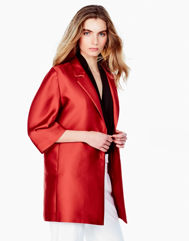 Manteau court orange