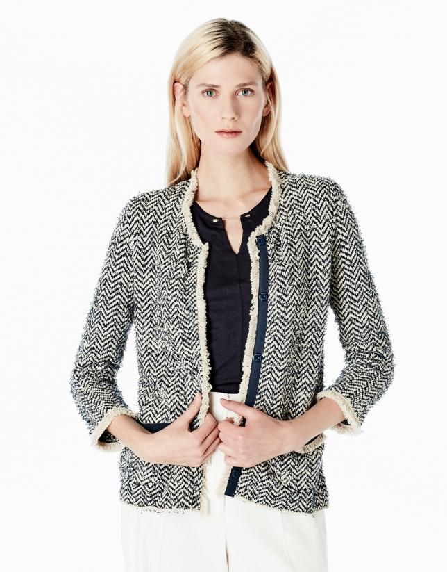 Knit jacket with fringe