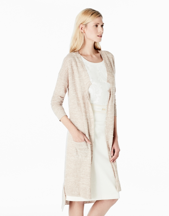 Beige long knit jacket