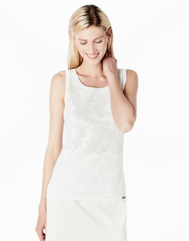 Pull fantaisie blanc