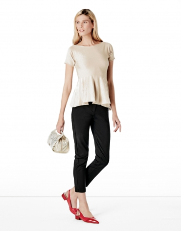 Beige peplum cut sweater