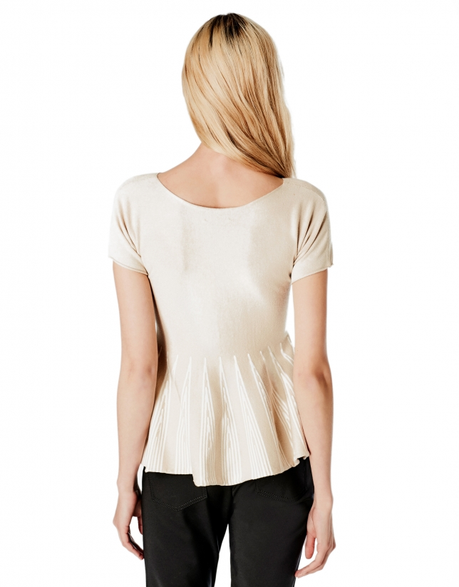 Pull coupe péplum beige