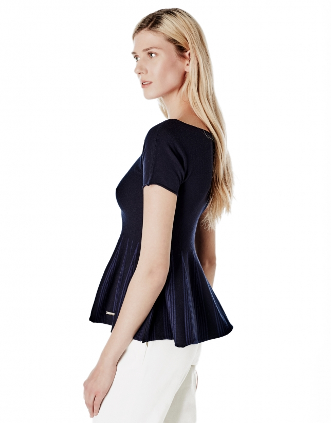 Blue peplum cut sweater