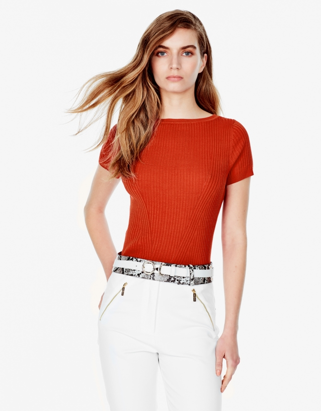 Orange ribbed sweater
