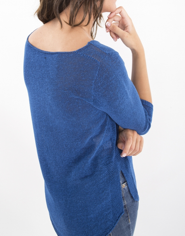 Blue flowing sweater
