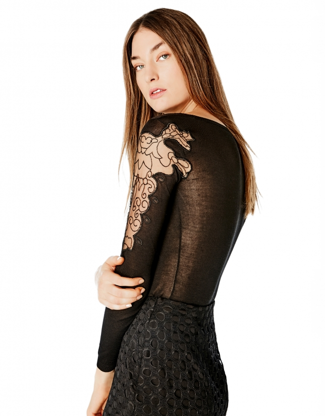 Black sweater with transparencies