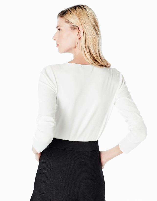 Jersey cuello caja blanco
