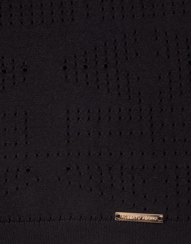 Black openwork sweater