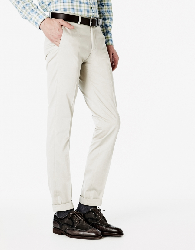 Stone-colored suit pants