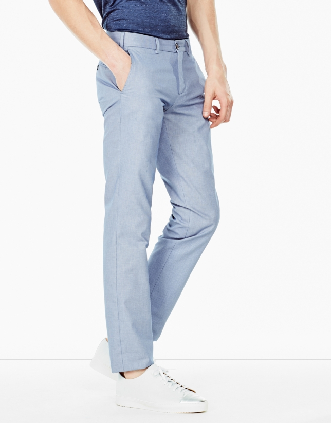 Pantalon chino coupe droite (regular fit) bleu ciel