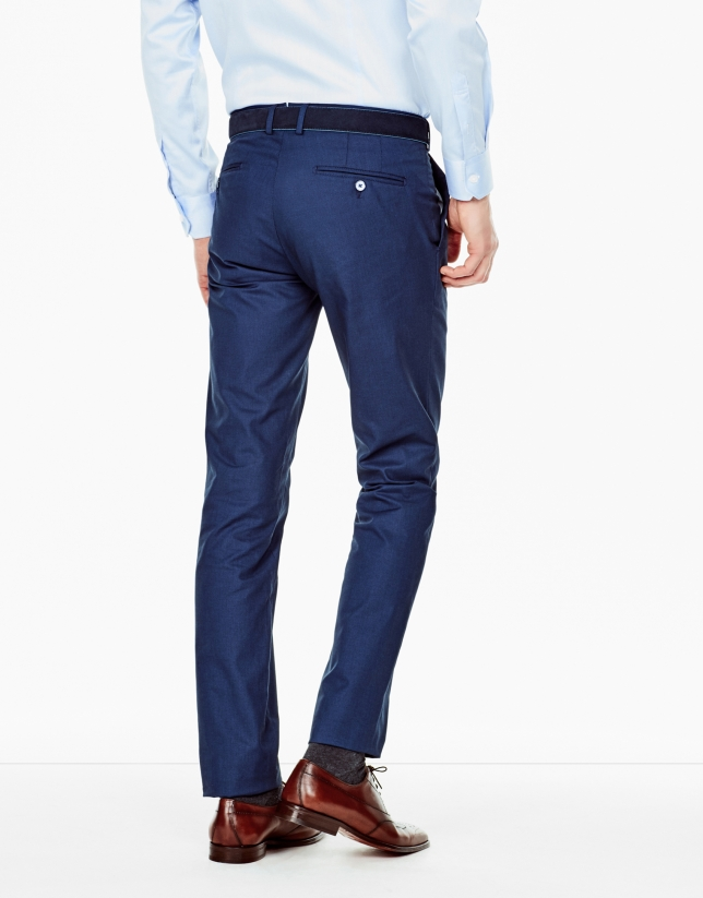 Navy blue regular fit chino pants