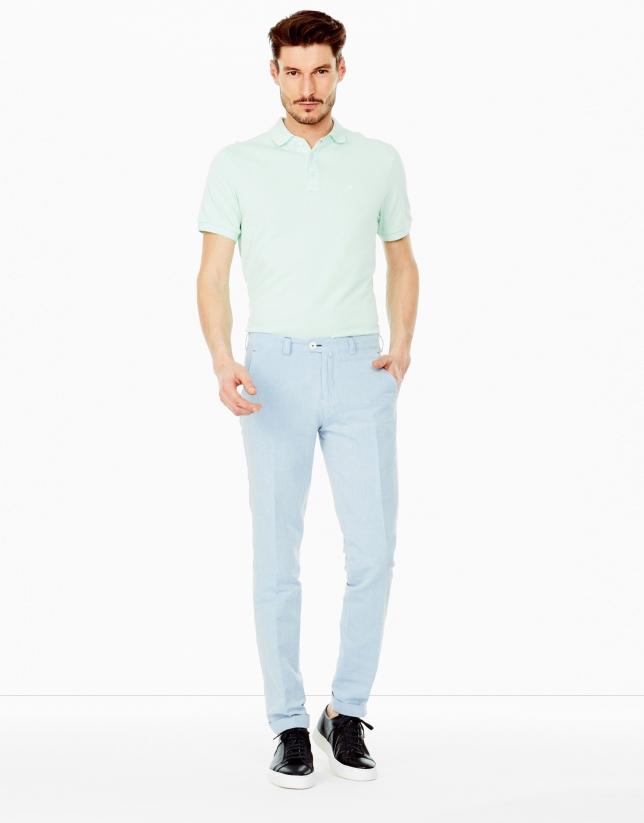 Pantalon en lin bleu ciel