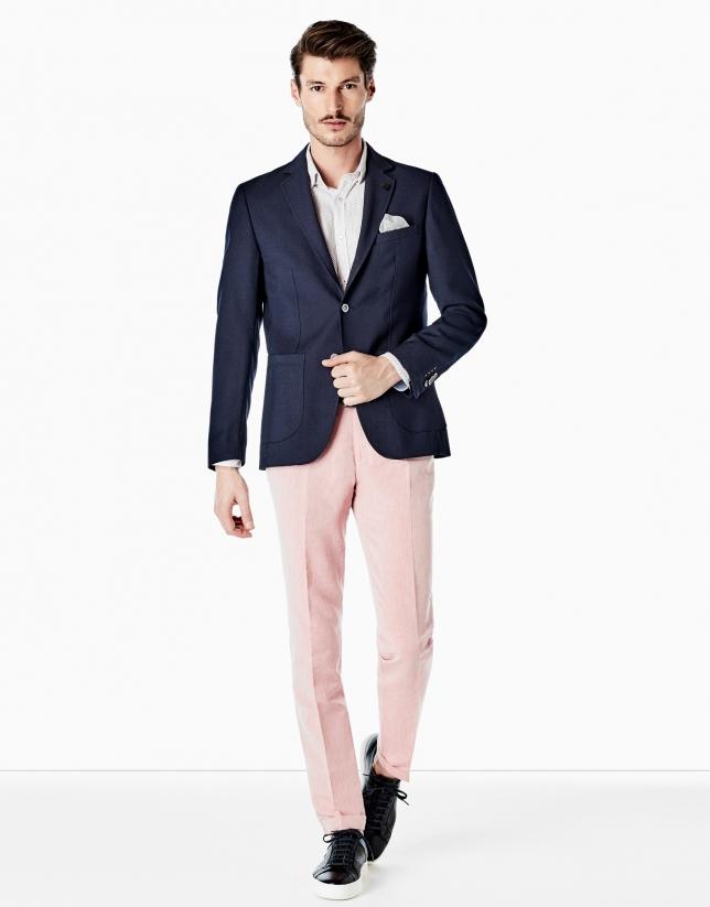 Pantalón lino rosa lavado