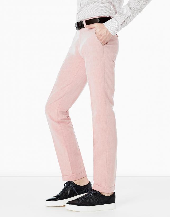 Pantalon en lin rosé délavé