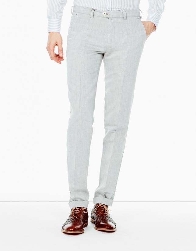 Pantalon en lin et coton gris