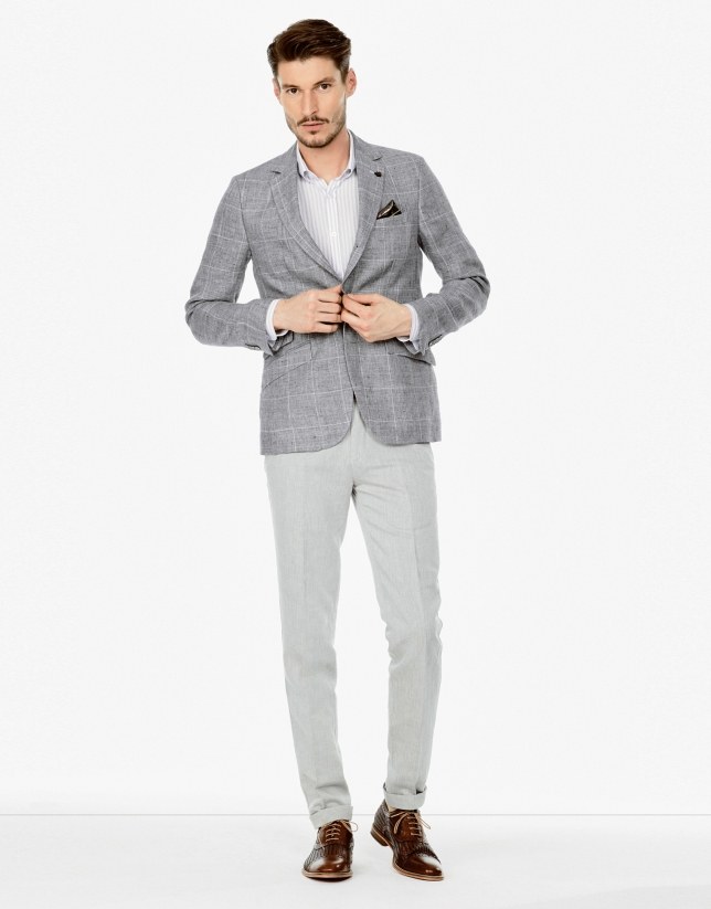 Gray cotton and linen pants