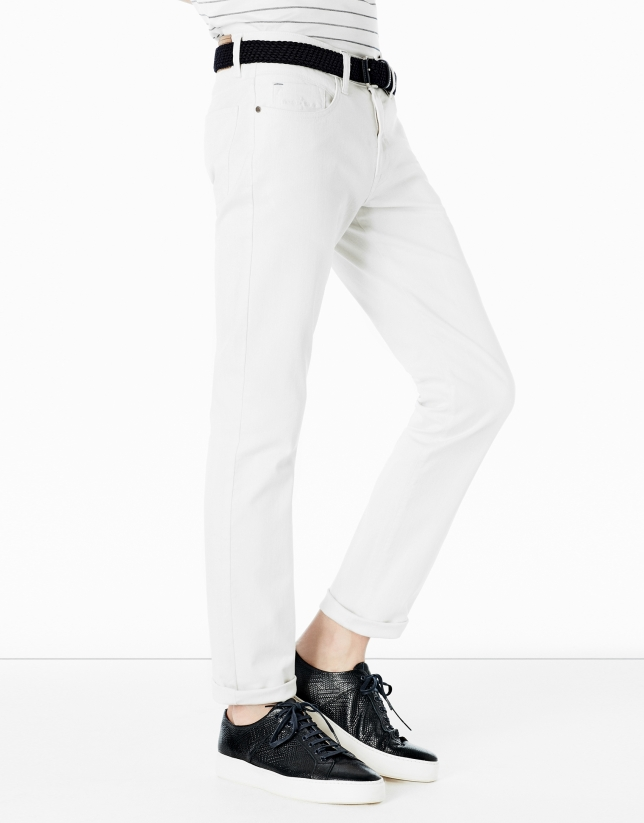 Ivory pants with 5 pockets