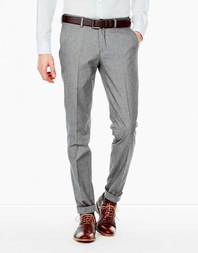 Pantalon faux uni gris