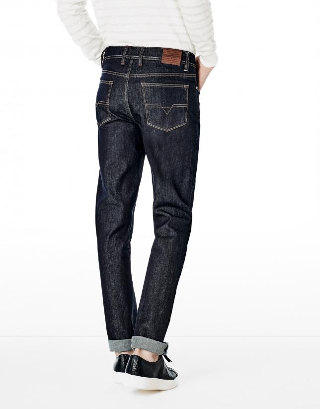 Jean coupe droite (regular fit) bleu foncé
