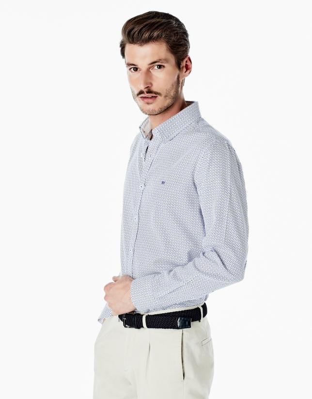 Camisa sport micro cachemires azulones