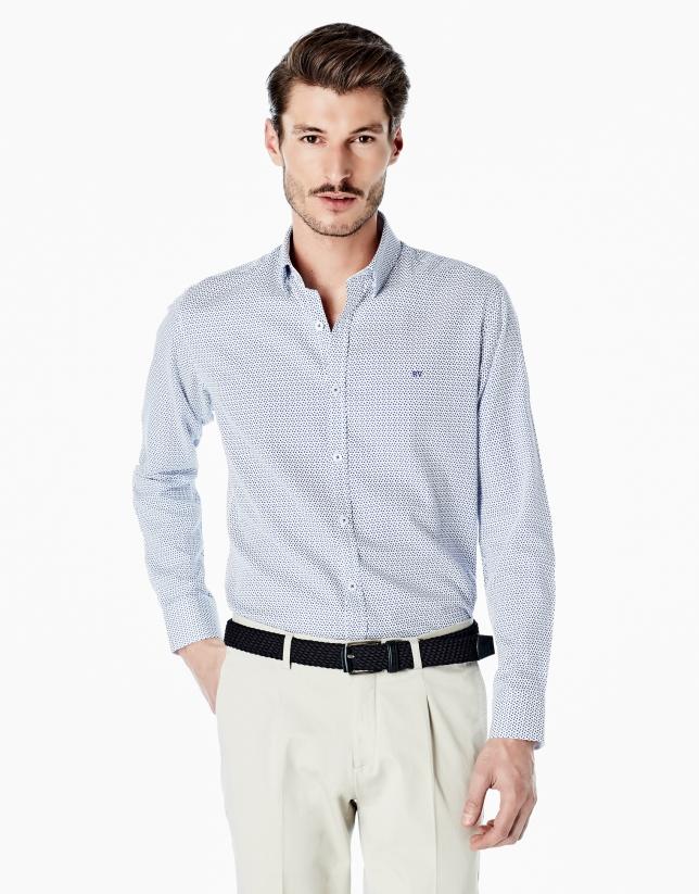 Blue paisley print sport shirt
