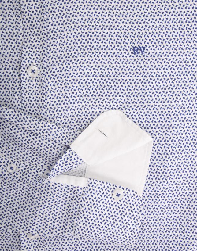Chemise décontractée à micro cachemire dans les tons bleu roi