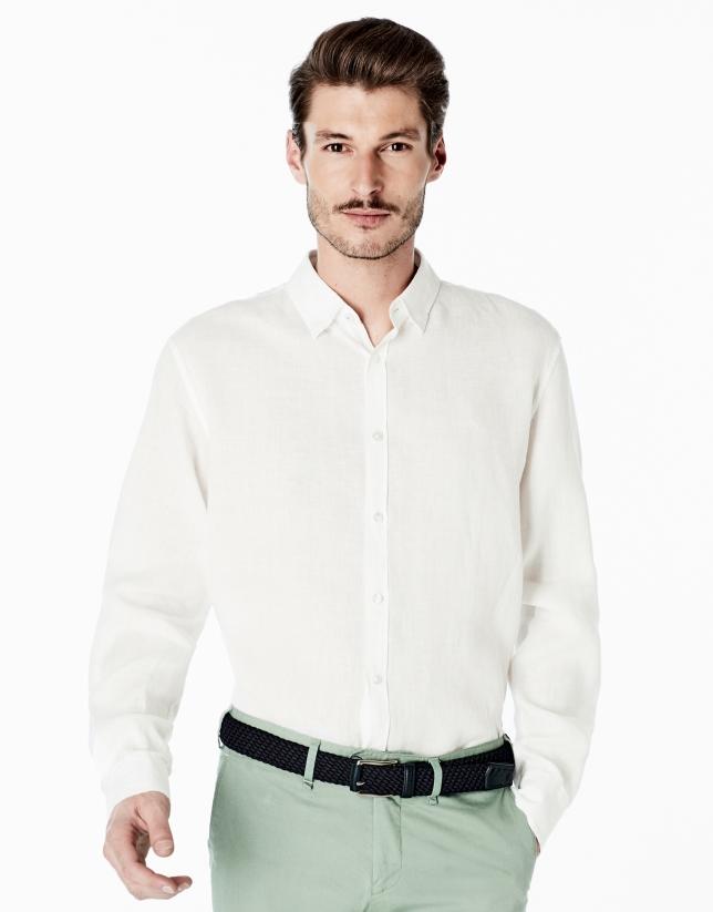 Camisa sport lino blanca