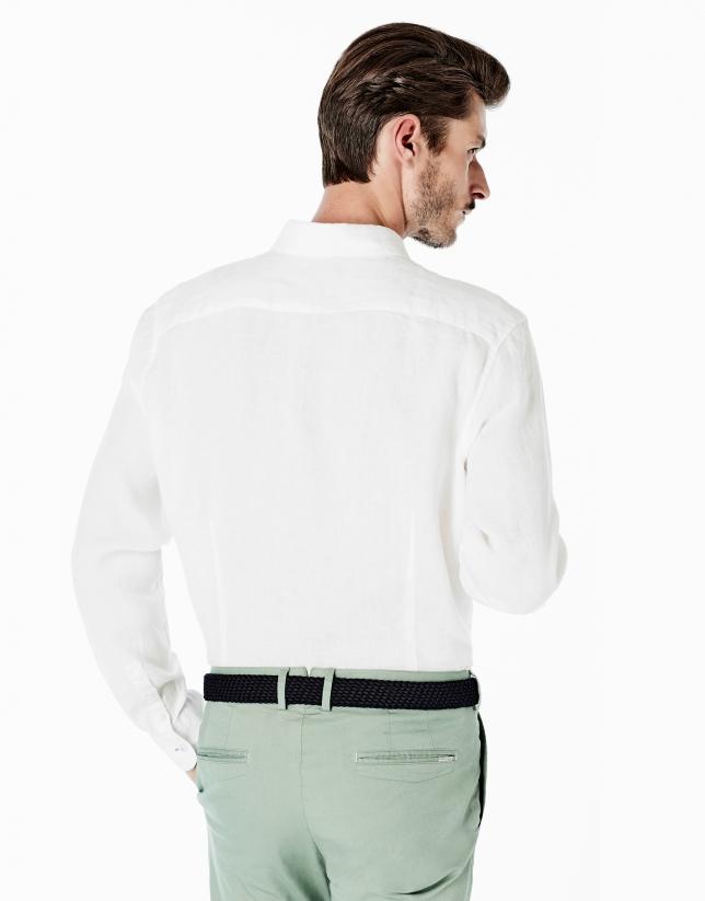 Chemise décontractée en lin blanche